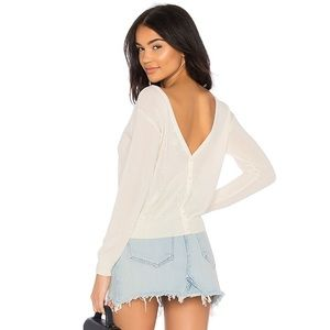 REVOLVE Callahan Button Up V Back Sweater in Creme